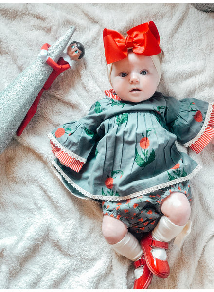 Yo Baby Floral Dress w/ Bloomer {Denim/Red/Green}