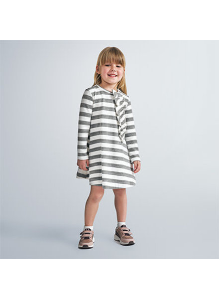 Mayoral Ruffle Bow Stripe Dress
