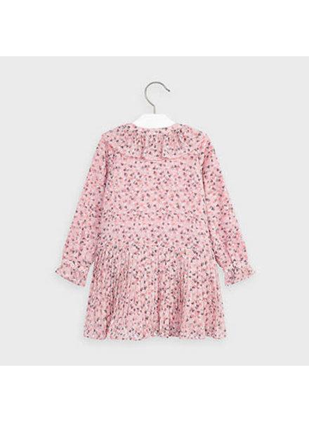 Mayoral Heart Chiffon Dress {Pink/Grey}