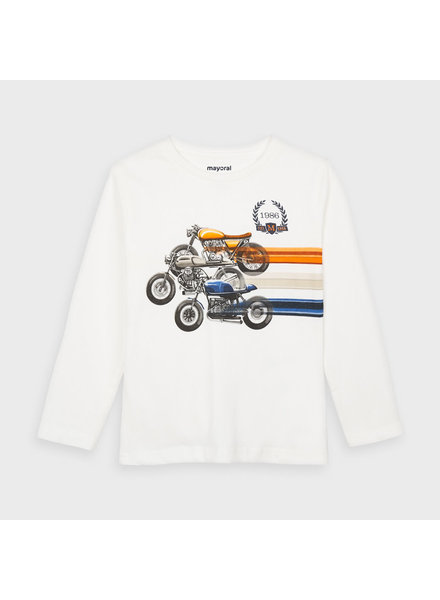 Mayoral Motorcycle Long Sleeve T-Shirt  {Ivory/Orange/Navy}