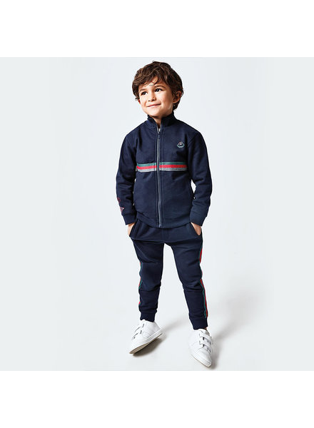Mayoral 4815 Striped Tracksuit ~ Navy w/ Green/Navy/Red Stripe F20