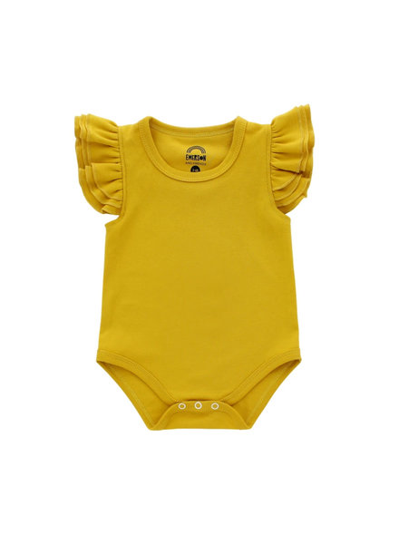 Emerson and Friends Flutter Sleeve Onesie {Mustard}