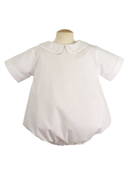Piped Short Sleeve Onesie {White}