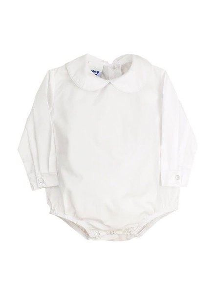 Piped Long Sleeve Onesie {White)