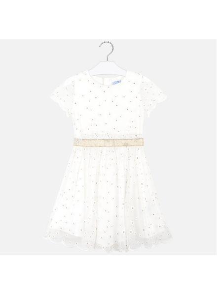 Mayoral Embroidered Tulle Dress {Ivory}