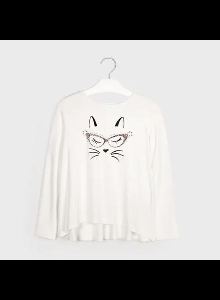 Mayoral 7072 Viscose Cat L/S T-shirt {Ivory Leopard}