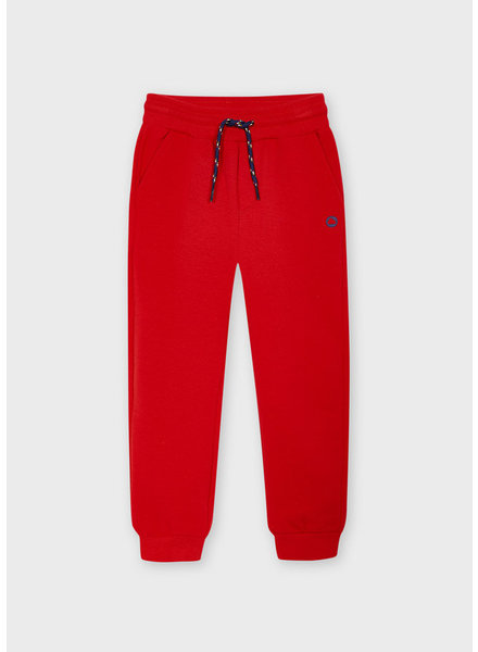 Mayoral Basic Cuffed Fleece Trousers {Red}