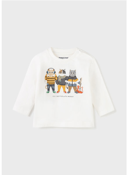 Mayoral 'Life is Better w/ Friends' Long Sleeve T-Shirt {Cream}