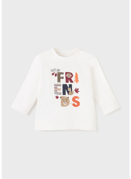 Mayoral 'Lets Be Friends' Long Sleeve T-Shirt {Cream}