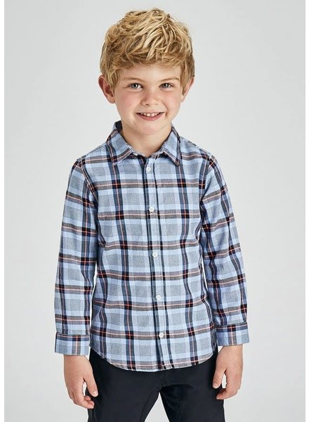Mayoral Small Plaid Shirt {Light Blue}