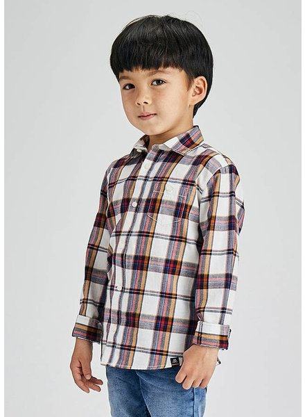 Mayoral Large Plaid Shirt {Cream}