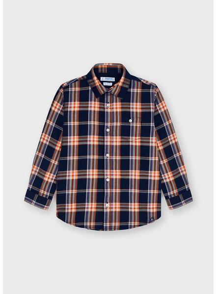 Mayoral Large Plaid Shirt {Navy/Orange}