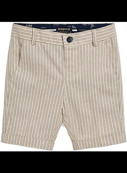Mayoral Tailored Linen Shorts {Khaki Stripe}