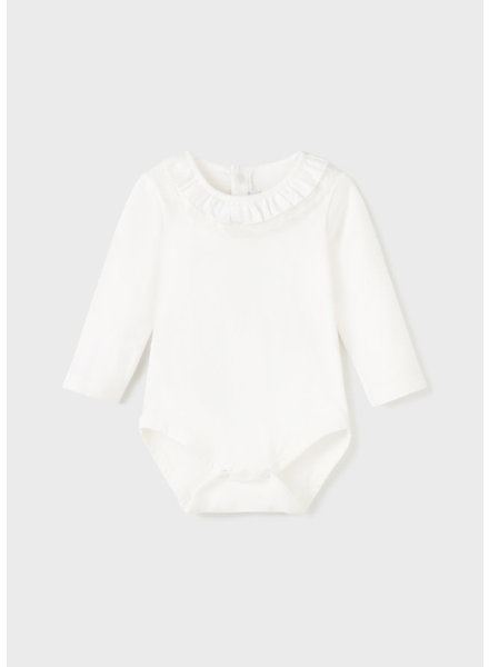 Mayoral Ruffle Lace Collar Onesie {Off White}