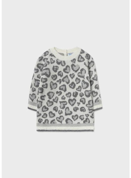 Mayoral Heart Sweater Dress {Natural/Grey}