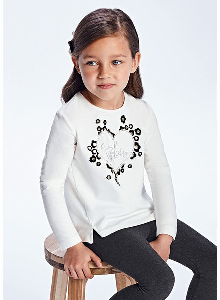 Mayoral 'With Love' Heart L/S Shirt {Natural}