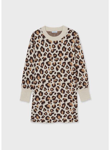 Mayoral Leopard Print Dress {Ivory}