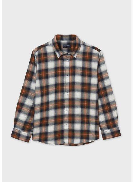 Mayoral Plaid Shirt {Navy/Orange}