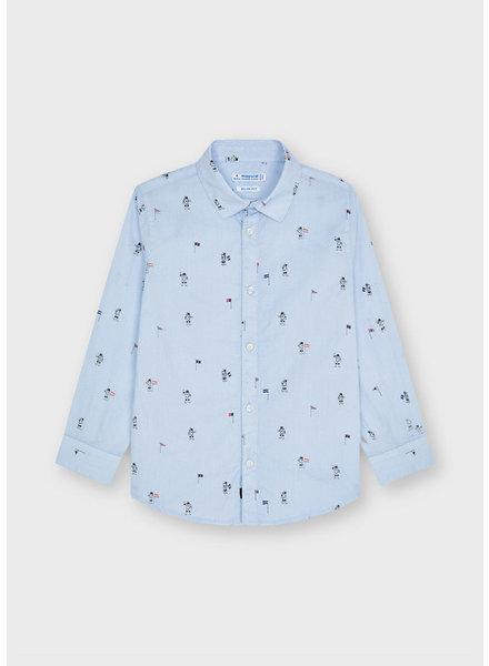 Mayoral Astronaut Dress Shirt {Light Blue}