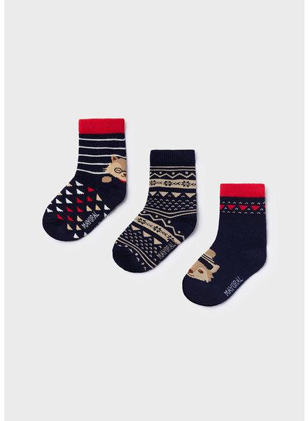 Mayoral Fox 3 Pack Sock Set {Navy/Red}