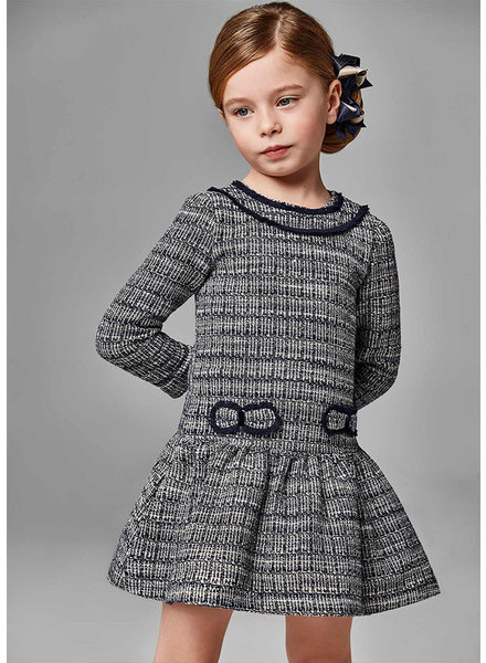 Mayoral Double Bow Flare Tweed Dress {Navy}