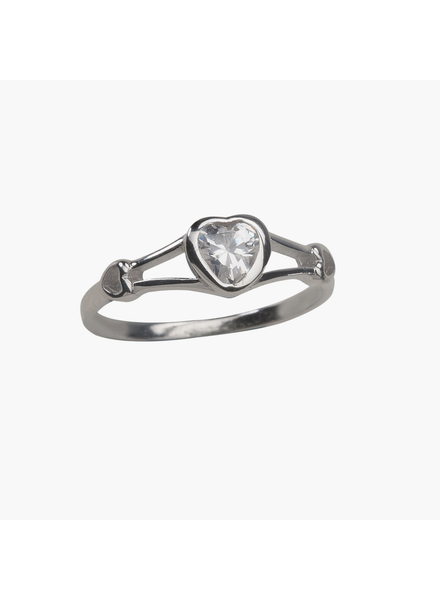 Cherished Moments Heart w/ CZ Baby Ring {S. Silver/ Sz 2}