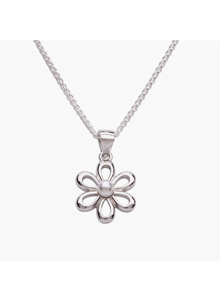 """Cherished Moments White Pearl Daisy Flower Necklace {S. Silver/14""""}"""