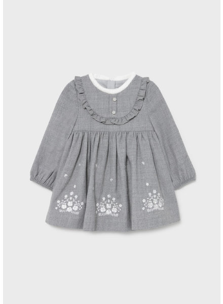 Mayoral Embroidered Flannel Dress {Gray}