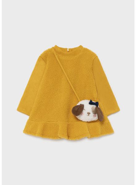 Mayoral Velvet Dress w/ Handbag {Mustard}
