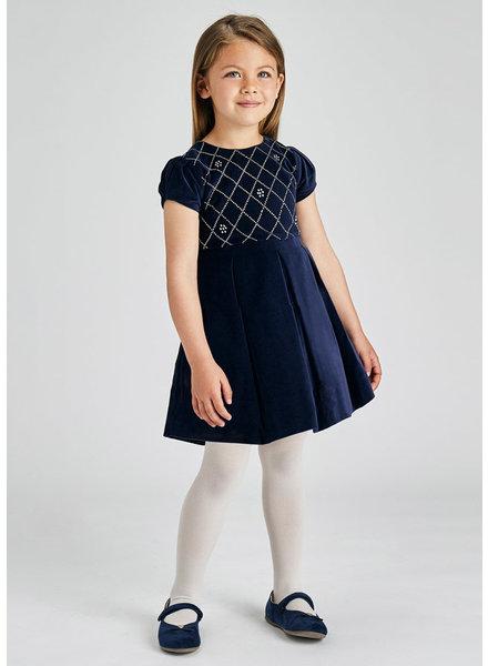 Mayoral Velvet Dress {Navy w/ Rhinestones}