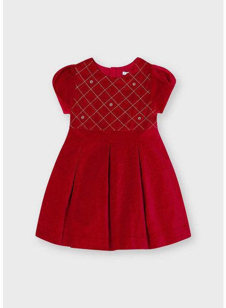 Mayoral Velvet Dress {Red w/ Rhinestones}