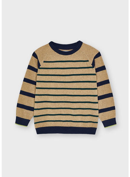 Mayoral Stripes Sweater {Navy/Green/Tan}