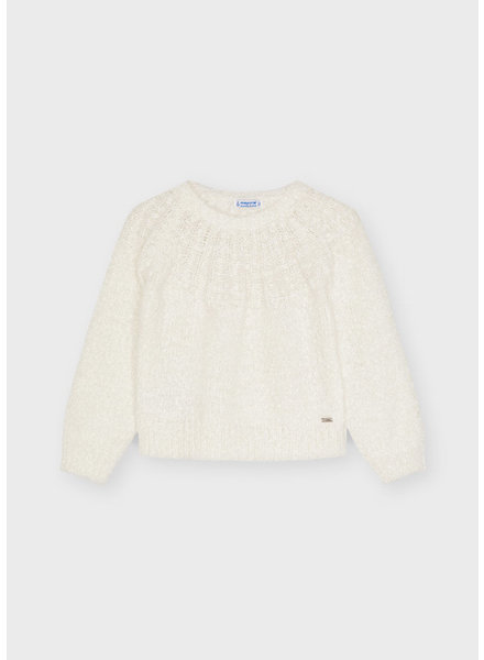 Mayoral Furry Knit Sweater {Off White}