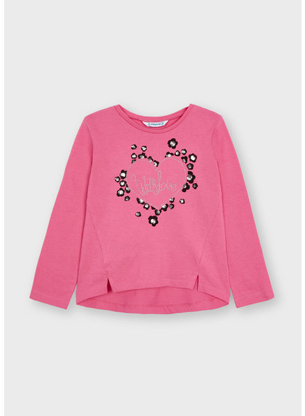 Mayoral 'With Love' Heart L/S Shirt {Fuchsia}
