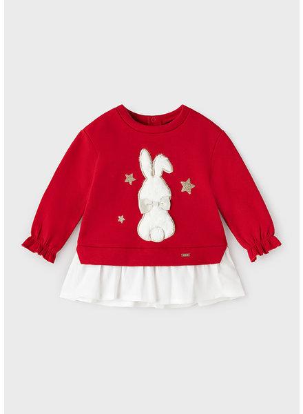 Mayoral Snow Bunny Sweatshirt {Red}