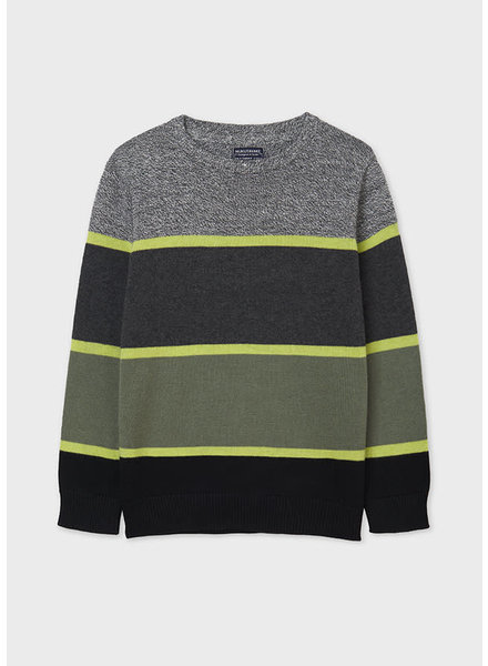 Mayoral Stripes Sweater Tween {Charcoal/Citron/Olive}