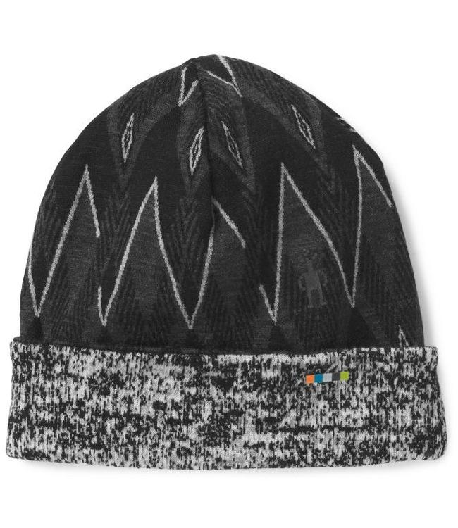 SMARTWOOL Merino 250 Reversible Pattern Cuffed Beanie - Black/Charcoal Heather