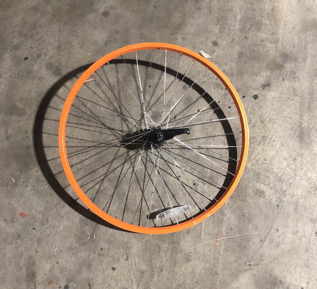 """26"""" Rear Aluminum Wheel / Coaster Brake (Orange)"""