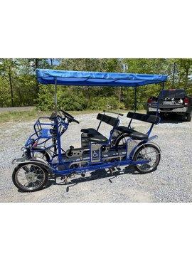 Used TecnoArt Double Bench Surrey Bike (Blue w/ Blue Top)
