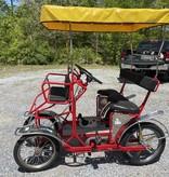 Refurbished Used NewTecnoArt Selene Sport Surrey Bike (Red w/ Yellow Top)