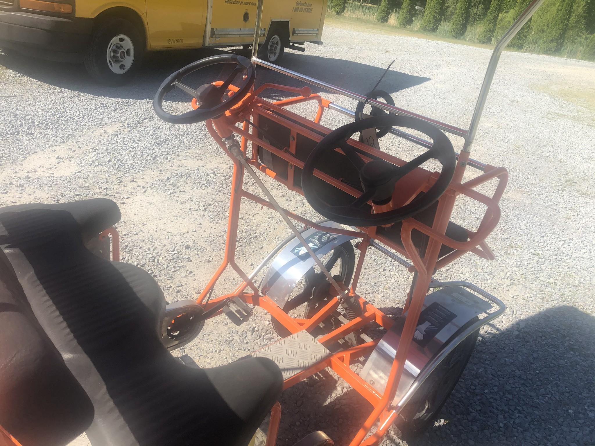 Refurbished Used NewTecnoArt Selene Sport Surrey Bike (Orange w/ Red Top)