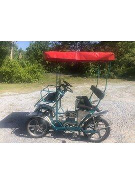 Used  NewTecnoArt Selene Sport Surrey Bike (Metallic Turquoise w/ Red Top)
