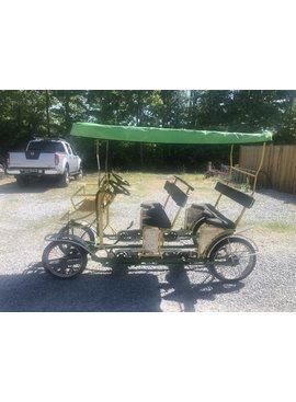 Used TecnoArt Double Bench Surrey Bike (Yellow & Green w/ Green Top)