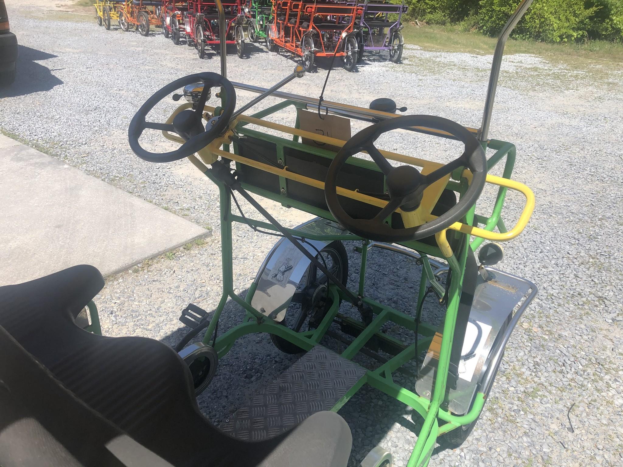 Used 2019 NewTecnoArt Selene Bus Surrey Bike (Green & Yellow w/ Yellow Top)