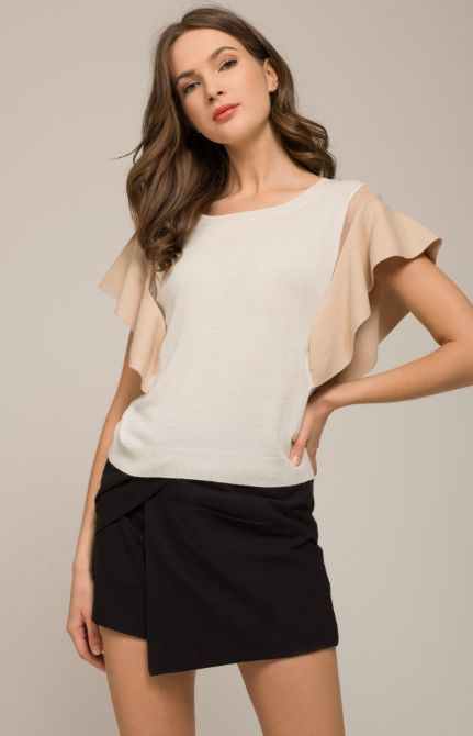 WING SLEEVE WHITE/TAUPE TOP