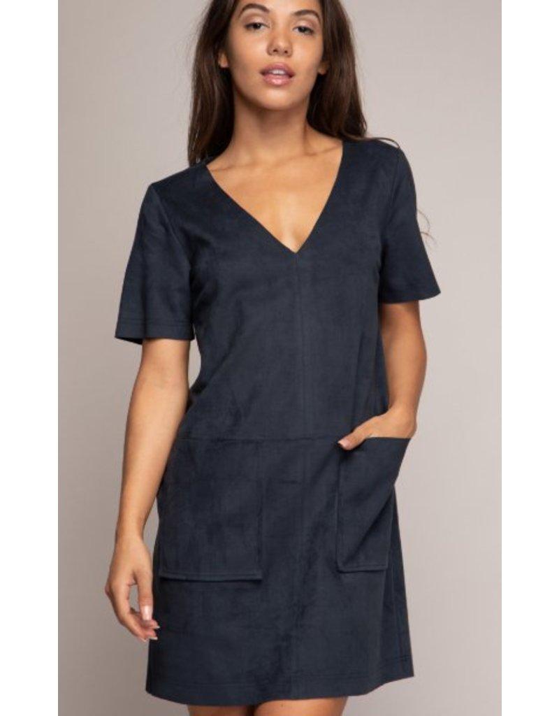 MICRO SUEDE SHIFT DRESS