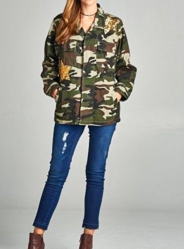 SEQUIN STAR CAMO JACKET