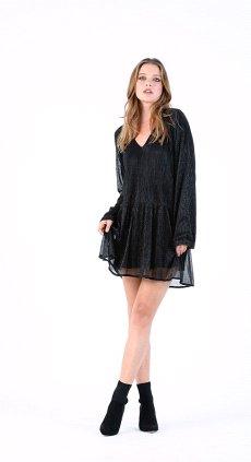 BLACK FOIL DROP WAIST DRESS