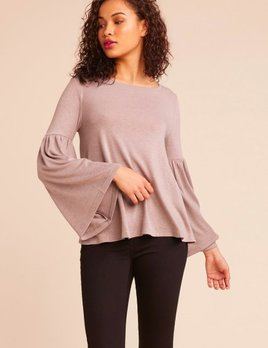 WONDERLAND BELL SLEEVE TOP BROWN