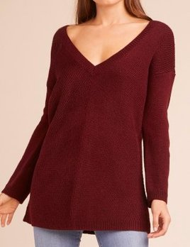 WINE V-NECK SWEATER